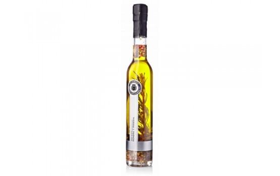 Aceite condimentado con romero y pimientas.