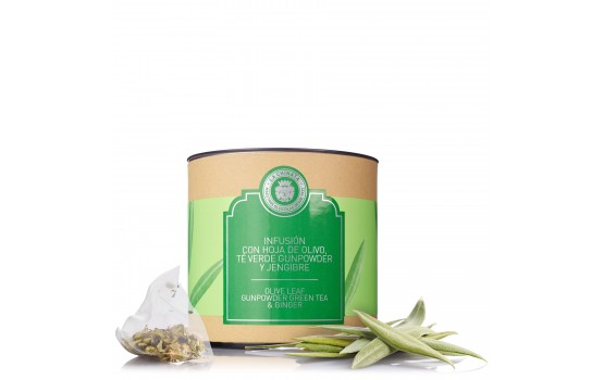Infusión de hoja de olivo, té verde gunpowder y jengibre